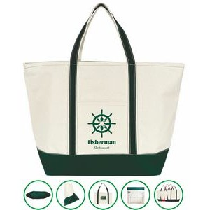 Anchor Boat Tote Bag - (24x15x8.5) 20oz Canvas Green