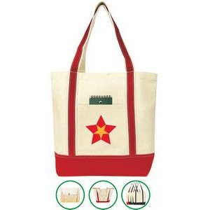Beach Boat Tote Bag - (19x15x6) 2oz Canvas Red