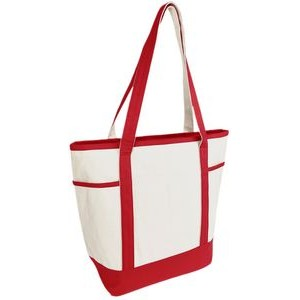 Navigator Boat Tote Bag - (20x16x7) 16oz Canvas Red