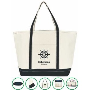 Anchor Boat Tote Bag - (24x15x8.5) 20oz Canvas Navy