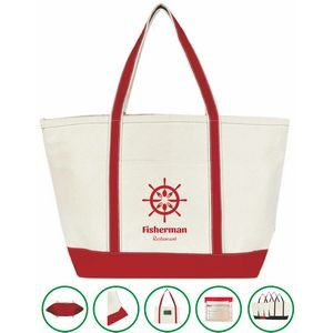 Anchor Boat Tote Bag - (24x15x8.5) 20oz Canvas Red