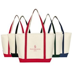 Lake Boat Tote Bag - (20x13x7) 20oz Canvas Red